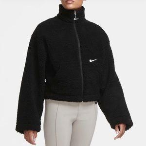 Nike Swoosh cropped teddy jacket size XS new
